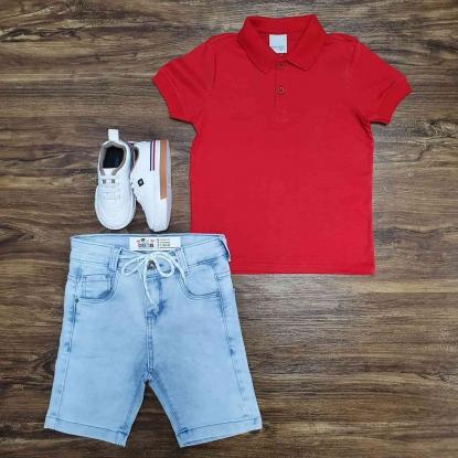 Polo Vermelha Manga Curta com Bermuda Jeans Infantil