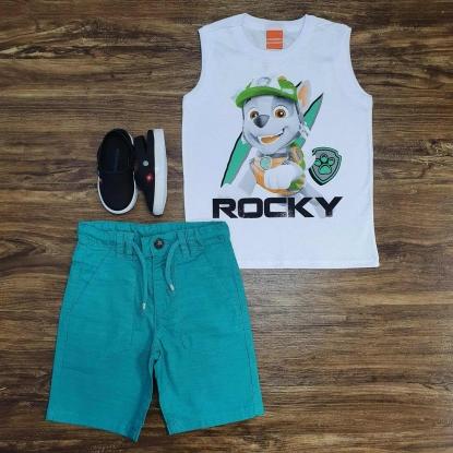 Regata Branca Rocky com Bermuda Verde Infantil