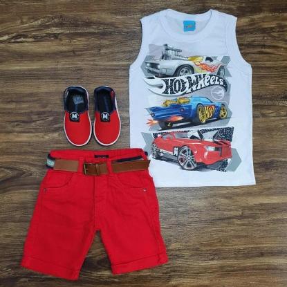 Regata Hot Wheels com Bermuda Vermelha Infantil