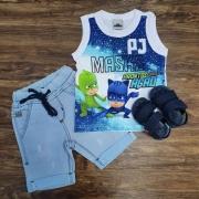 Regata PJ Masks com Bermuda Infantil