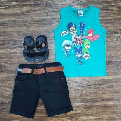 Regata Pj Masks com Bermuda Jeans Infantil