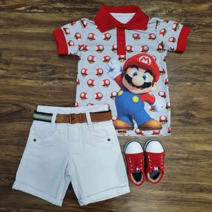 Conjunto com Polo Branca Mario