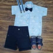 Conjunto Azul Urso Baloeiro Infantil