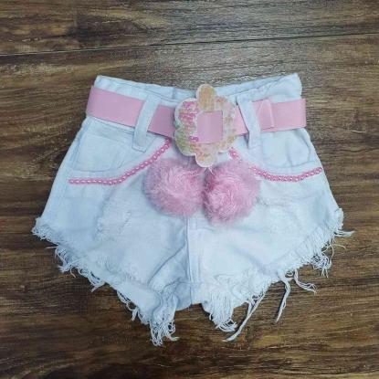 Shorts Branco Com Cinto Rosa Infantil
