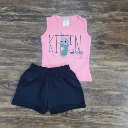 Shorts com Regata Kitten Infantil