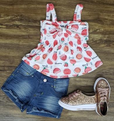 Shorts Jeans com Blusinha Frutas