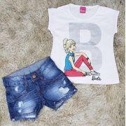 Shorts Jeans Destroyer com Blusinha Barbie Branca