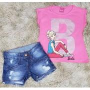 Shorts Jeans Destroyer com Blusinha Barbie Rosa