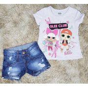 Shorts Jeans Destroyer com Camiseta Cinza LOL