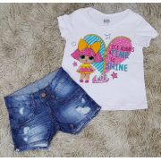 Shorts Jeans Destroyer com Camiseta LOL Branca