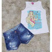 Shorts Jeans Destroyer com Regata Barbie Branca