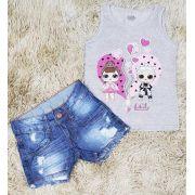 Shorts Jeans Destroyer com Regata LOL Cinza