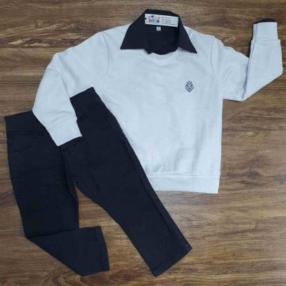 Blusa Branca com Camisa e Calça Jeans Preta Infantil