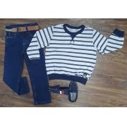 Suéter Listrado com Calça Infantil