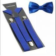 Suspensório e Gravata Borboleta Azul