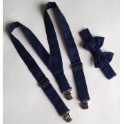 Suspensório e Gravata Borboleta Azul Marinho