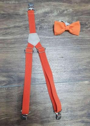 Suspensório e Gravata Borboleta Laranja