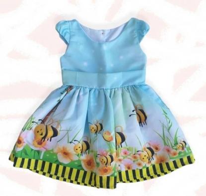 Vestido Azul Abelhas Infantil