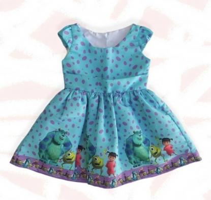 Vestido Azul Monstros S.A. Infantil
