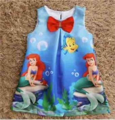 Vestido Azul Pequena Sereia Infantil