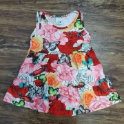Vestido Curto Rosas Infantil