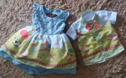 Vestido e Camisa Fazendinha Irmãos Infantil