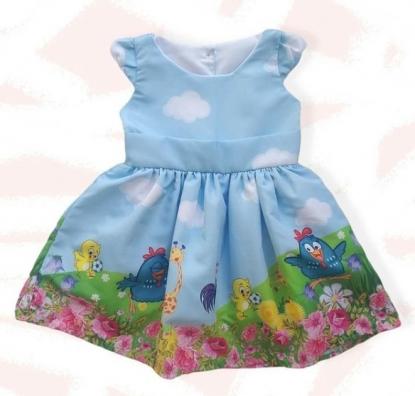 Vestido Galinha Pintadinha Azul Infantil