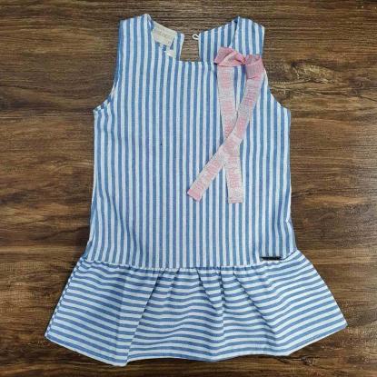 Vestido Listrado Azul e Branco Infantil