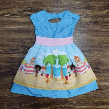 Vestido Mundo Bita Azul Claro Infantil
