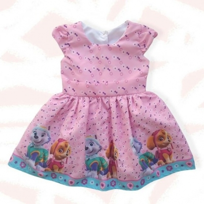 Vestido Patrulha Canina Rosa Infantil