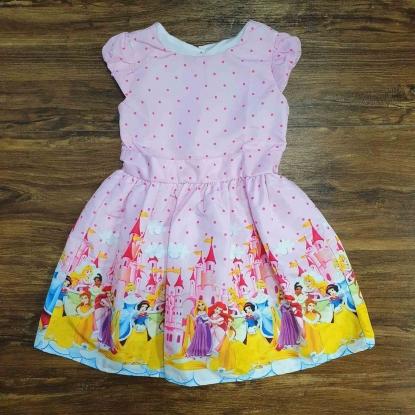 Vestido Princesas da Disney Rosa Infantil