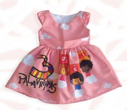 Vestido Rosa 3 Palavrinhas Infantil