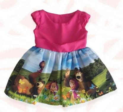 Vestido Rosa Masha e o Urso Infantil