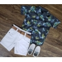 Bermuda Branca com Camisa Social Floral Infantil