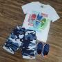 Bermuda Camuflada com Camiseta Pj Masks Infantil
