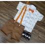 Bermuda Marrom com Suspensório e Camisa Brinquedos com Gravata