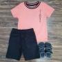Bermuda Preta com Camisa Salmão Infantil