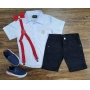 Bermuda Preta com Suspensório e Camisa Social com Gravata