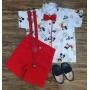 Conjunto Vermelho Mickey Branca Infantil