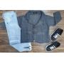 Blazer Cinza Chumbo com Calça Jeans Infantil
