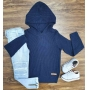 Blusa/Tricot Azul com Capuz e Calça Jeans Infantil
