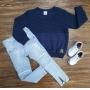 Blusa Azul Marinho com Calça Jeans Infantil
