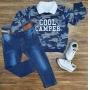 Blusa Camuflada Azul Com Polo e Calça Jeans Infantil