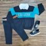 Blusa College com Polo e Calça Jeans Preta Infantil
