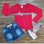 Blusa Longa Love com Shorts Infantil