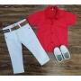 Calça Branca com Camisa Vermelha Infantil