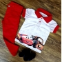 Calça Jeans Vermelha Com Polo Carros