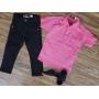 Calça Preta com Camisa Bata Rosa