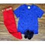 Calça Vermelha com Camiseta Azul