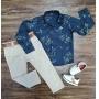 Camisa Floral Manga Longa com Calça Jeans Nude Infantil